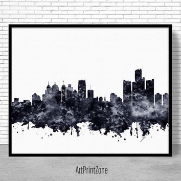 Detroit Print, Detroit Skyline, Detroit Michigan, Office Decor, City Wall Art, Watercolor Skyline, Watercolor City Print, ArtPrintZone