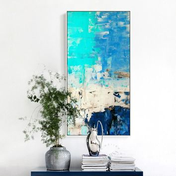Modern Home Decor Abstract Blue Watercolor Oil painting Wall Pictures For Living Room No Frame Nordic Wall Art