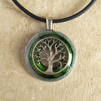 Tree of Life Necklace: Green - Wiccan Pendant - Celtic Jewelry - Tree Jewelry - Washer Jewelry - Mothers Day - Unique Jewelry - Earth Day