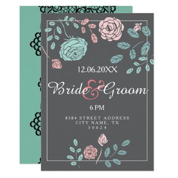 Beautiful lace customizable vintage rose wedding card