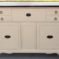 Refinished Antique Buffet Sideboard / French Provincial Chalk Painted in Annie Sloan Paint