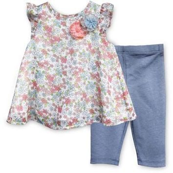 Pippa & Julie™ Chiffon Floral 2-Piece Short Sleeve Tunic and Legging Set
