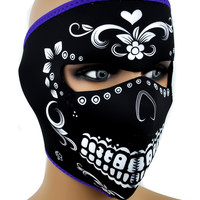 Dia De Los Muertos Neoprene Protective Full Motorcycle Riding Mask Halloween