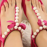 Leisure Bowknot Beaded Thong Sandals