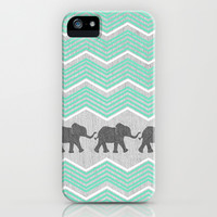 Three Elephants - Teal and White Chevron on Grey iPhone & iPod Case by Tangerine-Tane | Society6