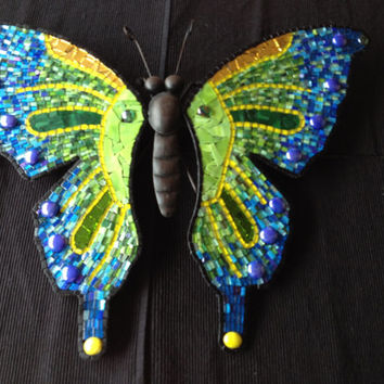 Wall art mosaic butterfly  outdoor decoration home glass mosaic Blue Green mosaic glass metal