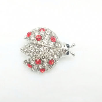 Brooch - Combination of Swarovski Crystal Red Ladybug