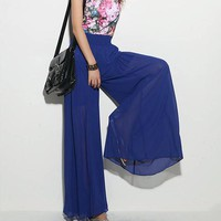 Bohemian Style Summer Long Wide Chiffon Thin Lady Long Culottes Solid Color Harem Pants Elastic High Waist Loose Women Trousers