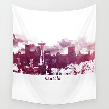 Seattle skyline Wall Tapestry by Jbjart | Society6