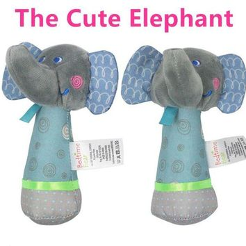LMFLD1 Baby Rattles Mobiles 14cm*10cm Elephant Stick Bird Sound Toy ring bell Infant Baby Crib Stroller Toy 0+ month Plush Newborn Soft