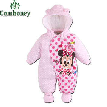 Baby Custome Rompers Minnie Mouse Autumn Winter Overalls Boys Clothes For Baby Girls Clothing Bebe Warm Jumpsuit Newborn