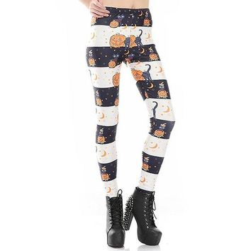ONETOW New Arrival 3590 Sexy Girl Halloween Black cat Jack O Lantern Printed Elastic Fitness Polyester Workout Women Leggings Pants