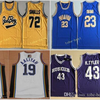 Bad Boy Notorious Big 72 Biggie Smalls Jersey Punahou 23 Barack Obama Basketball Jerseys Marlon Wayans 43 Kenny Tyler Bricklayers 19 Aaliyah