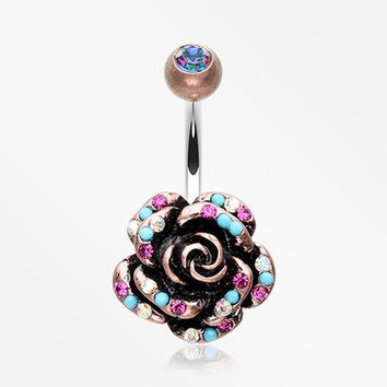 Vintage Boho Gleam Rose Belly Button Ring