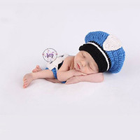 CCA79 Police Officer Knit Hat Outfit Photo Prop - LAST CALL