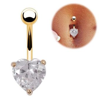 Zircon heart belly button rings 316l Stainless Steel Lip Body Piercing Rings I Shape Ear Stud Piercing Tragus Body Jewelry