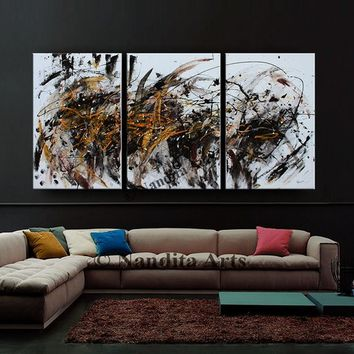 Extra Large Painting, Abstract Painting on Canvas Contemporary Art Acrylic Wall Art Bed Room Decor Artwork by Nandita 72x36in/183x92cm