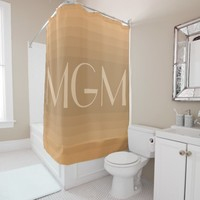 Neutral gradation giant monogram shower curtain
