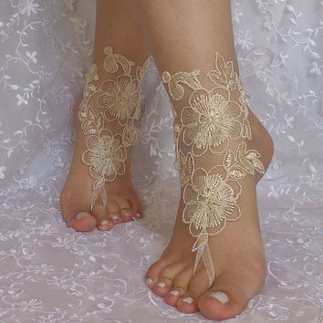 Cappuccino Free Ship Barefoot Sandals  beach shoes, lariat sandals, wedding bridal, bellydance, wedding shoes, summer wear,