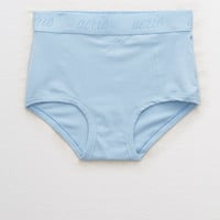 Aerie Real Soft® Stretch Cotton Logo High Waisted Boybrief , Blue Breeze