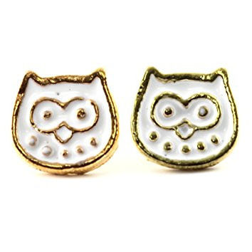 Owl Stud Earrings Vintage Gold Tone EL08 White Enamel Bird Posts Fashion Jewelry