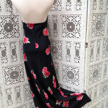 90's Halter Maxi Dress Floral Print Sexy Black Magenta Pink Rose Long Size Medium  //SuzNews Etsy Store//