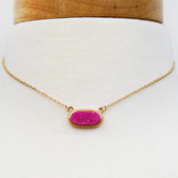 dainty druzy necklace-fuchsia/gold