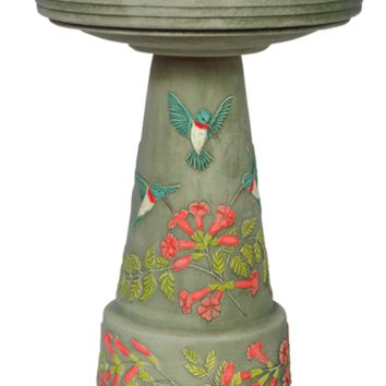 Hummingbird Handcrafted Clay Birdbath Set