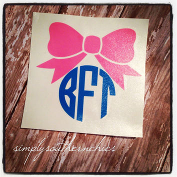 Monogram with Big Bow - Perfect for Laptop, Car, iPhone, Planner, or Anything Else!!!