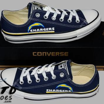 Hand Painted Converse Lo Sneakers. San Diego Chargers. Football. Superbowl. Handpainte