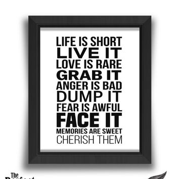 Life Is Short Live It Print | Quote Print | Motivational Print | Positive Print | Inspirational Print | Life Print