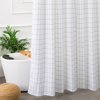 White and Black Bathroom Fabric Shower Curtain