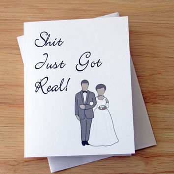 Wedding Announcement, Shit Just Got Real, Wedding Card, Engagement Card, Marriage Card, Wedding Couple, Married Couple, Card For BFF, Funny
