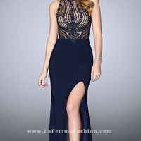 Navy Blue Long Embroidered Jersey Prom Dress
