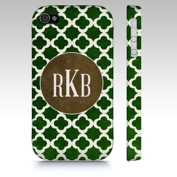 Monogram Clover - Iphone 4, 4s, 5 & Samsung Galaxy s3, S4 Case / cover - Chic, gift, Luxe, Pattern, emerald, pantone, green, monogrammed