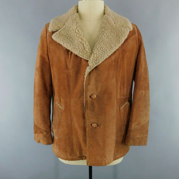 Vintage 1970s Suede Coat / 70s Men's Car Coat / Tan Suede Leather Jacket / Sherpa Lining / Paddock Club Boyd's Menswear / Size 46 XL