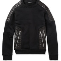 Balmain - Leather-Panelled Cotton-Jersey Sweatshirt | MR PORTER