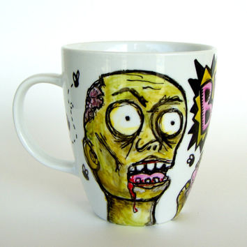 Zombie Mug Ceramic Painted Green Pink Black White Undead Halloween Spooky Brains