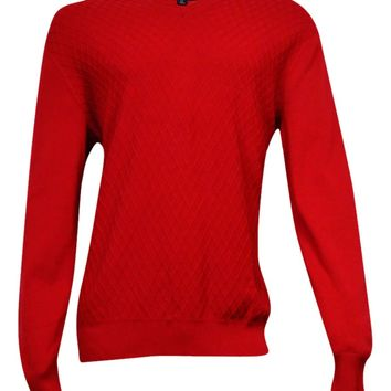 Club Room Men's Diamond-Knit Pattern Sweater (Anthem Red, LT)