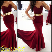 Long Red Prom Dress, Straps Floor-length Long Silk Mermaid Prom Dresses Graduation Dress Formal Dress Sweetheart Homecoming Dress 2014