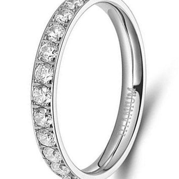 3mm Titanium Eternity Rings Cubic Zirconia Wedding Engagement Band