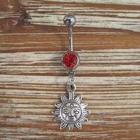 Belly Button Ring - Body Jewelry - Sun with Red Gem Stone Belly Button Ring