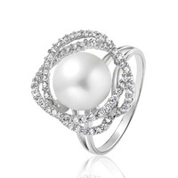 Bling Jewelry Leaf Pearl Ring