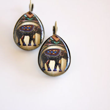 Boho Chic earrings, elephant earrings, pendant earrings