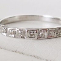 14k Antique Solid White Gold Deco Vintage Natural Diamond wedding band ring