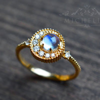 14K/18K Moonstone Crescent Ring, Solid Gold Crescent Moon Engagement Ring, Blue Rainbow Moonstone Diamond Ring, Galaxy Ring, Moon Star Ring