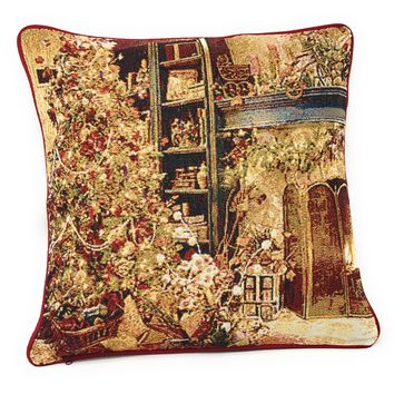 "DaDa Bedding Golden Christmas Throw Pillow Cover Tapestry Cases 16"" x 16"" (14604)"