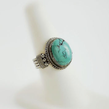 Morenci Turquoise Ring Size 7 - Native American Sterling Ring - Chunky Ring - Wide Band Sterling Ring