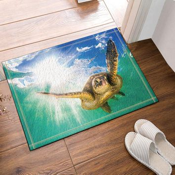 Autumn Fall welcome door mat doormat Diving Turtle Against Sun Penetrate Into Sea Bath Rugs Bathroom Entryways Outdoor Indoor Front  60x40cm AT_76_7