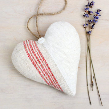 Vintage Linen & Red Striped Lavender Heart Sachet, French Country Decor